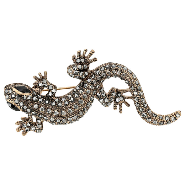 Brosche - Golden Gecko