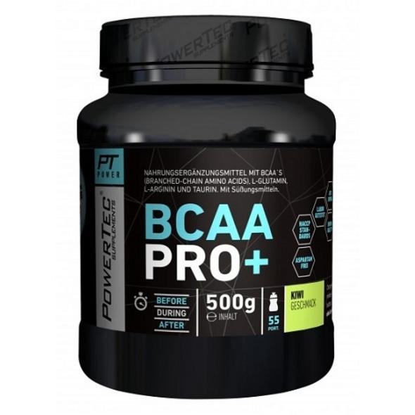 POWERTEC SUPPLEMENTS BCAA Pro+ Drink - Pulver mit essentiellen Aminosäuren für den effizienten Muskelaufbau - mit Glutamin und Arginin Orange. 500 g