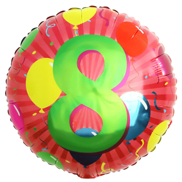 Folienballon mit Zahl 8