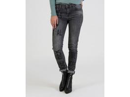 Graue Jeans mit Folienschrift