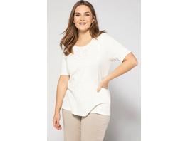 Ulla Popken T-Shirt, Stickerei, Classic, Flammjersey, Baumwolle - Große Größen