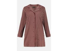 Ulla Popken Nachthemd, Pyjama-Style, Streifen, Langarm - Große Größen
