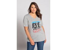 Ulla Popken T-Shirt, Motiv The Police, Classic, reine Baumwolle - Große Größen