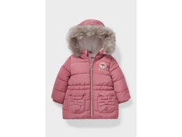 Baby-Jacke mit Kapuze und Kunstfellbesatz - recycelt